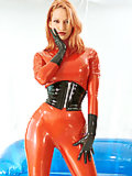 Bianca Beauchamp in red latex and black boots