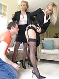 Ladies in stockings dominate their slave