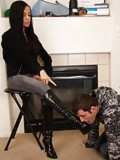 Tiffany makes her boot stool lick her boots