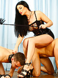 Mistress trains two humble pussy and toe lickers